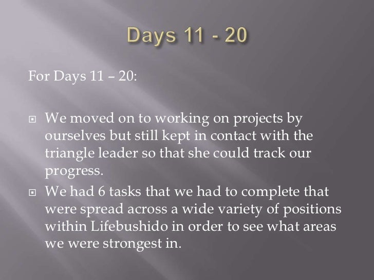 For the Rest of the Month:   Though I am not aware of what it will entail, I    am looking forward to the last part of th...