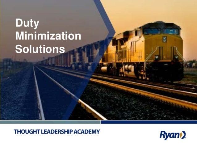 1 Duty Minimization Solutions