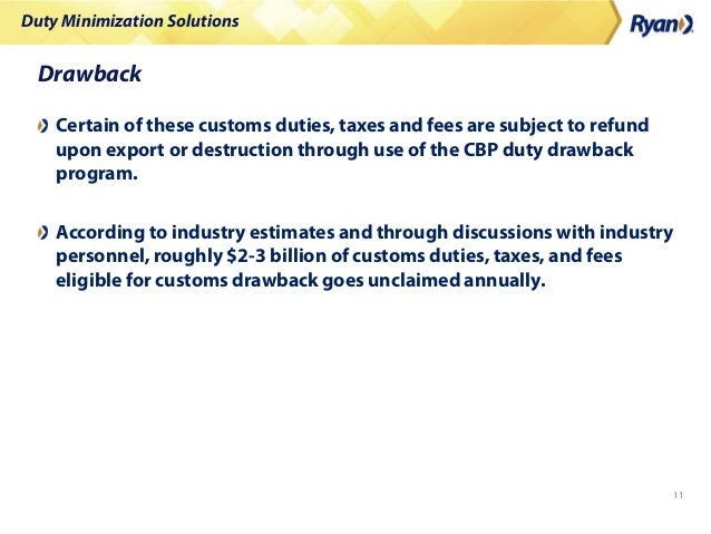 Duty Minimization Solutions 11 Drawback Certain of these customs duties, taxes and fees are subject to refund upon export ...