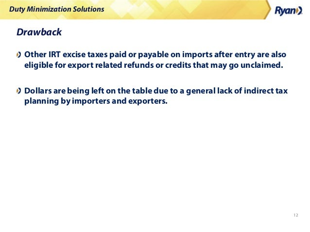 Duty Minimization Solutions 12 Drawback Other IRT excise taxes paid or payable on imports after entry are also eligible fo...