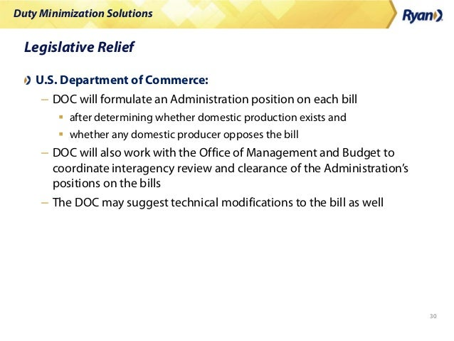 Duty Minimization Solutions 30 Legislative Relief U.S. Department of Commerce: – DOC will formulate an Administration posi...