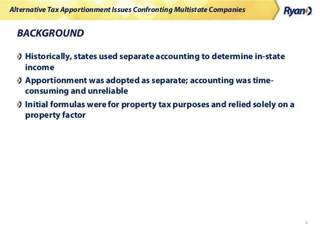 Alternative Tax Apportionment Issues Confronting Multistate Companies Slide 2