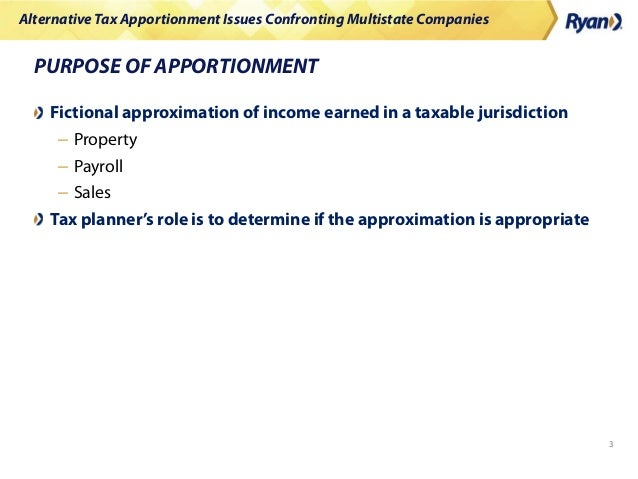 Alternative Tax Apportionment Issues Confronting Multistate Companies Slide 3