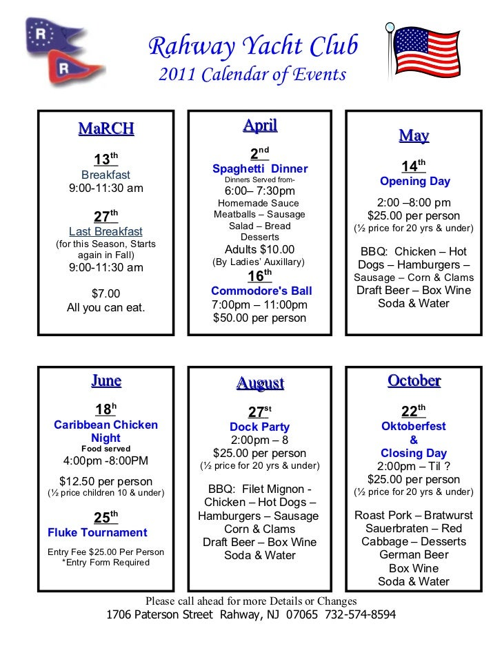 Rahway Yacht Club                             2011 Calendar of Events       MaRCH                                April    ...
