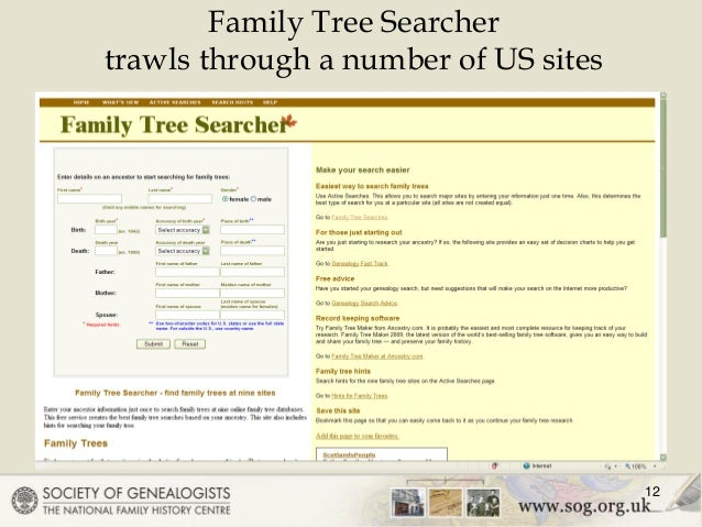 12 family tree searcher trawls through a number of us sites