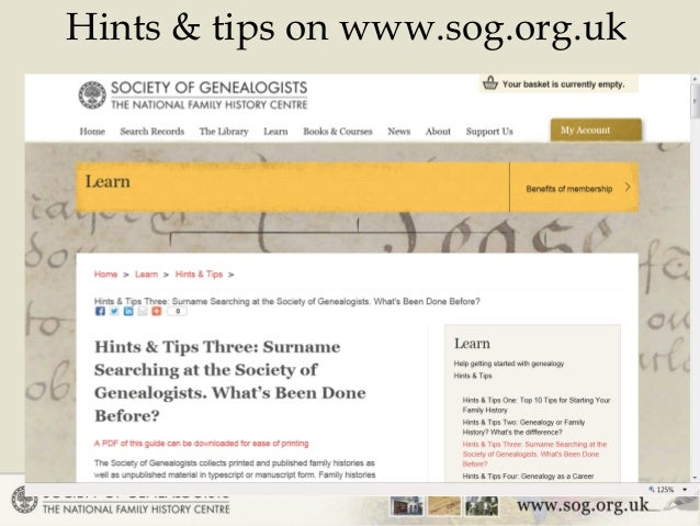 Hints & tips on www.sog.org.uk 2 ...