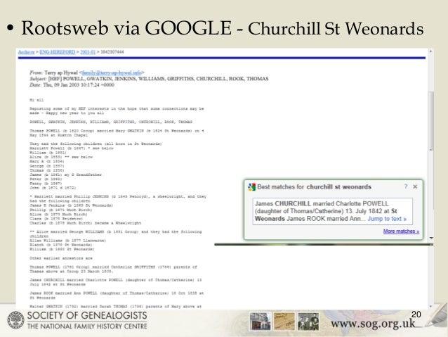 Rootsweb via GOOGLE - Churchill St Weonards 20 ...