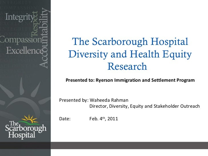 The Scarborough Hospital Diversity and Health Equity Research  Presented to: Ryerson Immigration and Settlement Program   ...