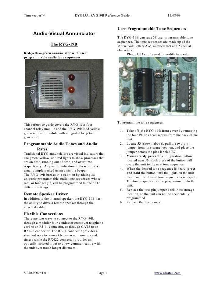 Timekeeper™                        RYG15A, RYG19B Reference Guide                             11/08/09                    ...