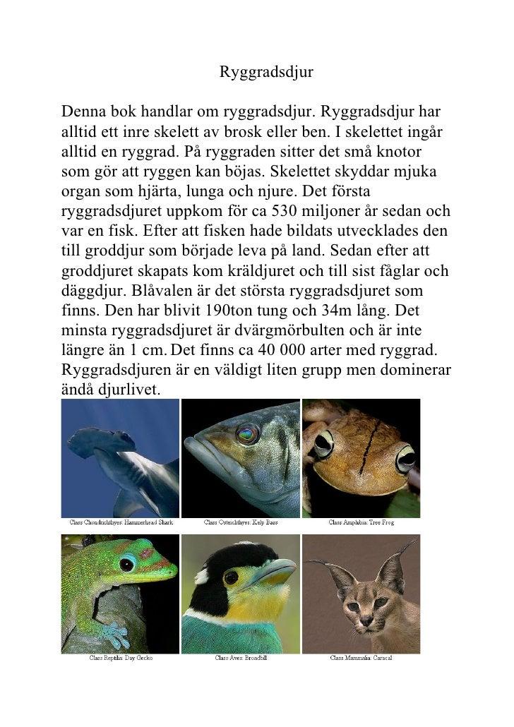 Ryggradsdjur  Denna bok handlar om ryggradsdjur. Ryggradsdjur har alltid ett inre skelett av brosk eller ben. I skelettet ...