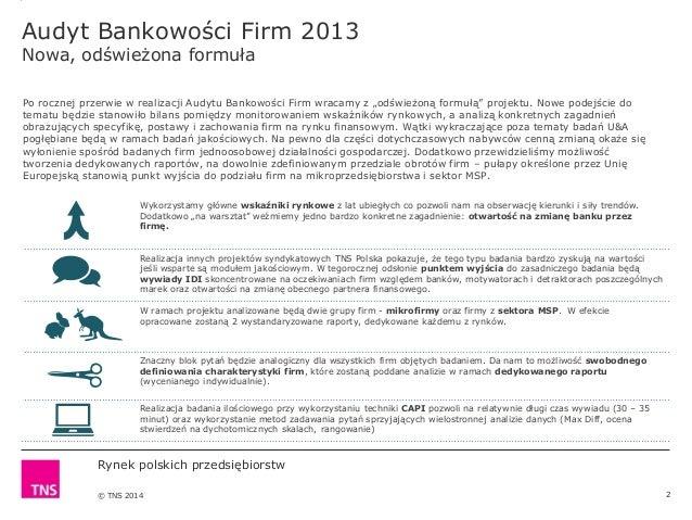 Rynek polskich przedsiębiorstw. Oferta raportu TNS Polska. Slide 2