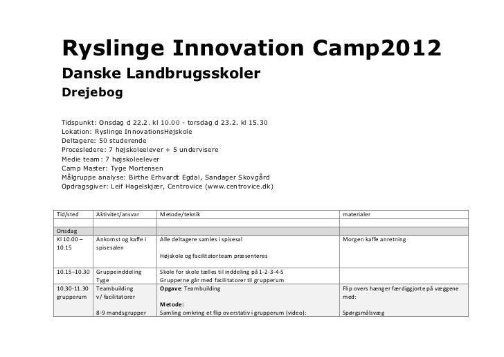 Ryslinge Innovation Camp2012  Danske Landbrugsskoler  Drejebog     Tidspunkt: Onsdag d 22.2. kl 10.00 - torsdag d 23.2. kl...