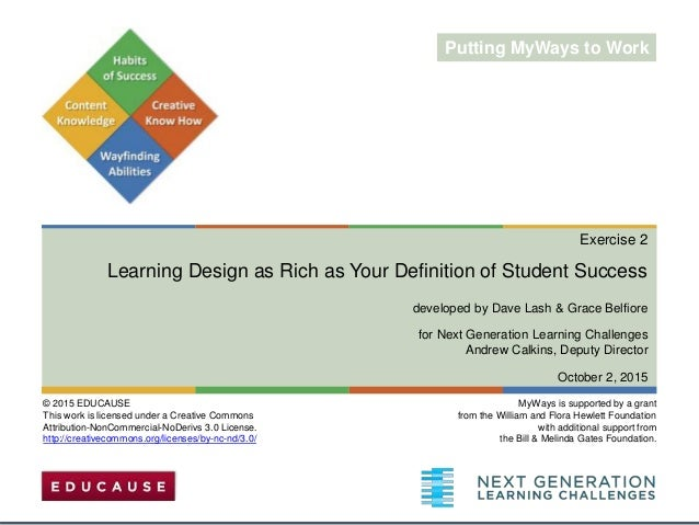 Exercise 2 Learning Design as Rich as Your Definition of Student Success developed by Dave Lash & Grace Belfiore for Next ...