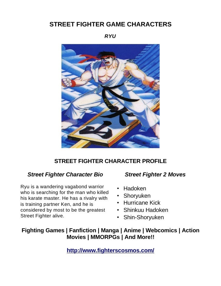 Street Fighter Game Characters Ryu