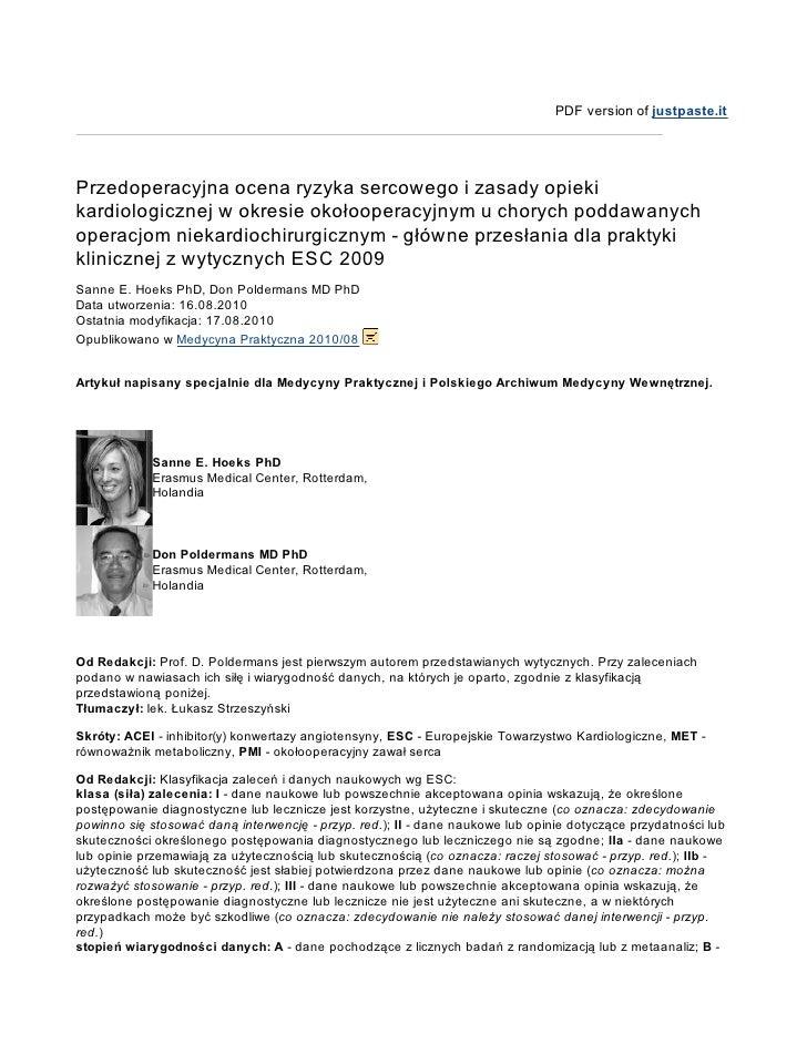 PDF version of justpaste.it     Przedoperacyjna ocena ryzyka sercowego i zasady opieki kardiologicznej w okresie okołooper...