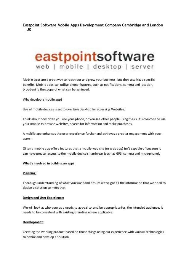 Eastpoint Software Mobile Apps Development Company Cambridge and London   UK Mobile apps are a great way to reach out and ...