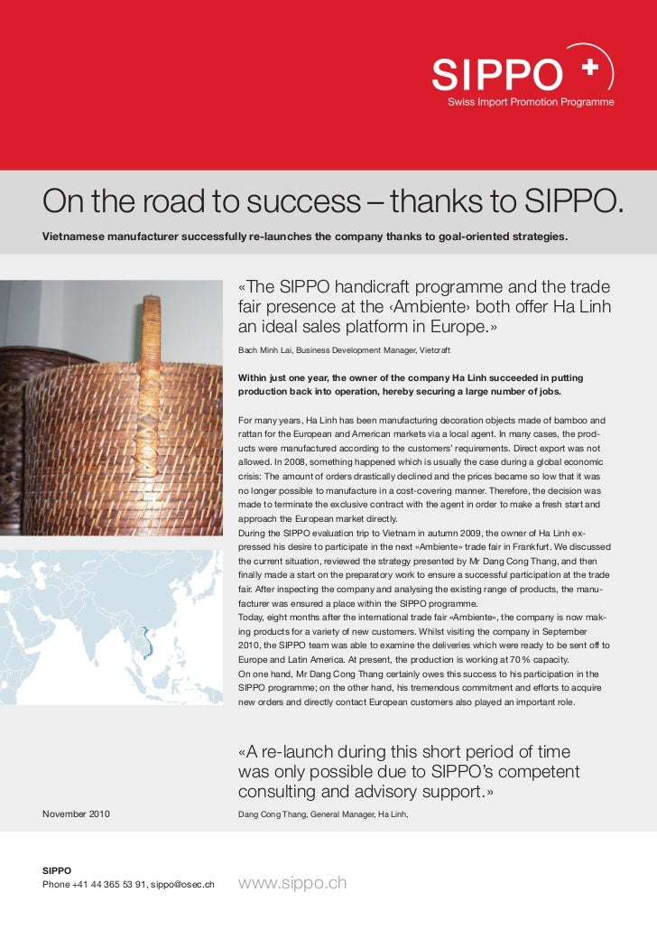 On the road to success – thanks to SIPPO. Vietnamese manufacturer successfully re-launches the company thanks to goal-orie...