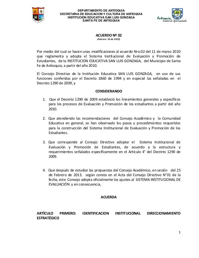 DEPARTAMENTO DE ANTIOQUIA SECRETARIA DE EDUCACION Y CULTURA DE ANTIOQUIA INSTITUCION EDUCATIVA SAN LUIS GONZAGA SANTA FE D...