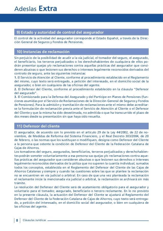 Condiciones generales adeslas extra for Oficinas de adeslas en barcelona