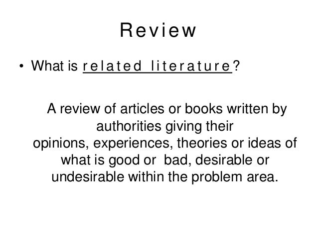 the review of related literature and