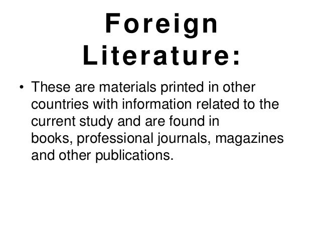 Foreign and local literature in thesis