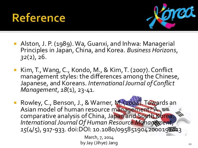 wa guanxi and inhwa managerial principles References: alston, j p (1989) wa, guanxi, and inhwa: managerial principles in japan, china, and korea business horizons, 32(2), 26-31 alston, j p (2005).