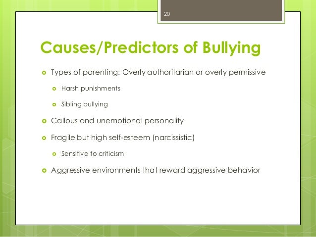 causes of student bullying 2013-11-18 summarizes common causes and antecedents of bullying behavior as well as recommended interventions to decrease bullying incidents.