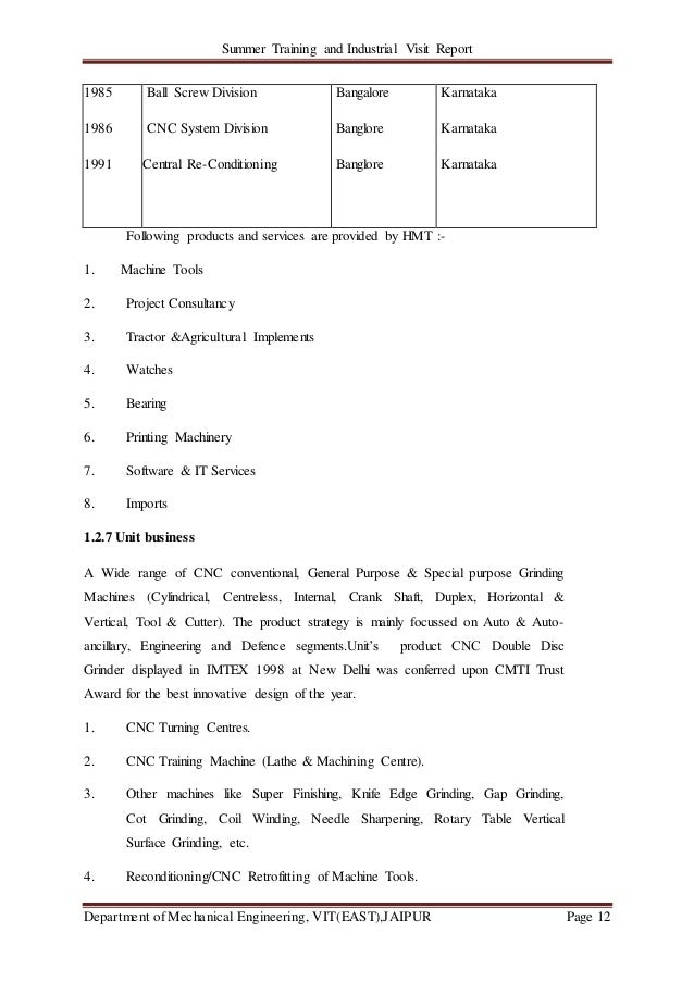 Summer Training and Industrial Visit Report Department of Mechanical Engineering, VIT(EAST),JAIPUR Page 12 Following produ...