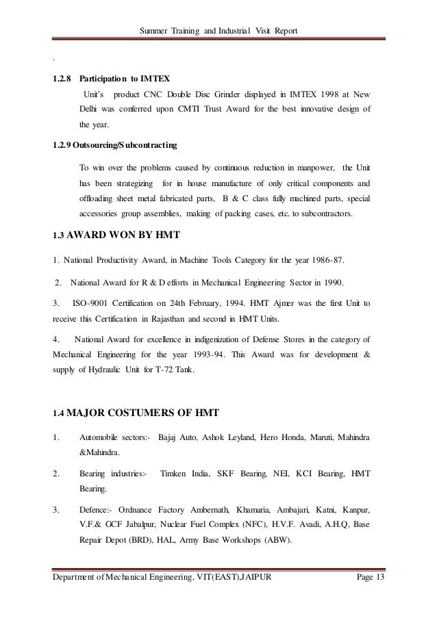 Summer Training and Industrial Visit Report Department of Mechanical Engineering, VIT(EAST),JAIPUR Page 13 . 1.2.8 Partici...