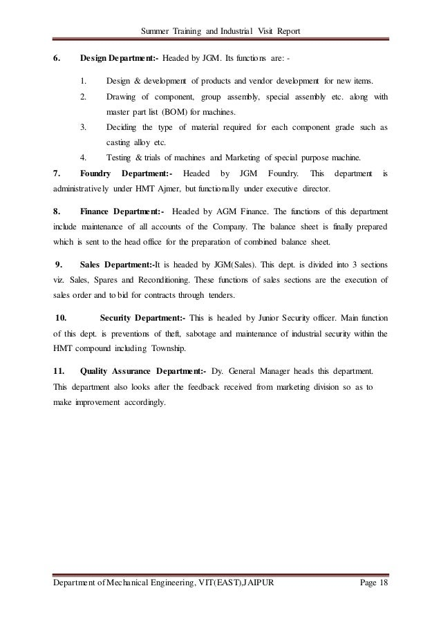 Summer Training and Industrial Visit Report Department of Mechanical Engineering, VIT(EAST),JAIPUR Page 18 6. Design Depar...