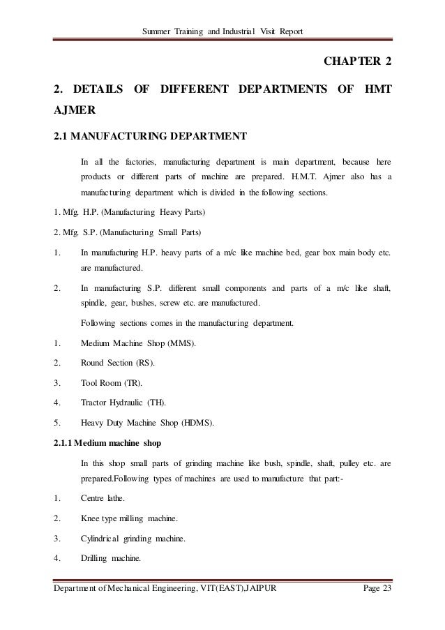 Summer Training and Industrial Visit Report Department of Mechanical Engineering, VIT(EAST),JAIPUR Page 23 CHAPTER 2 2. DE...