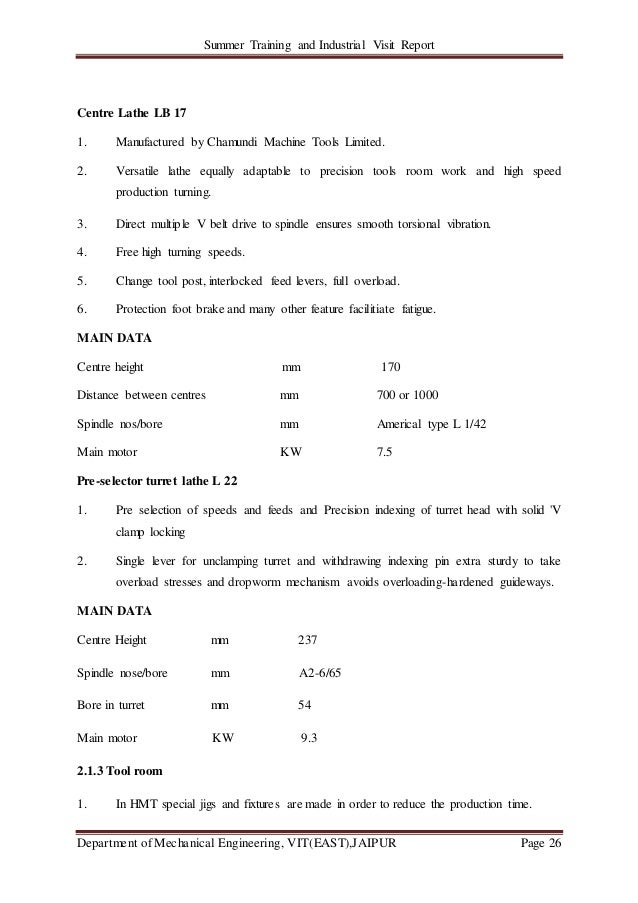 Summer Training and Industrial Visit Report Department of Mechanical Engineering, VIT(EAST),JAIPUR Page 26 Centre Lathe LB...