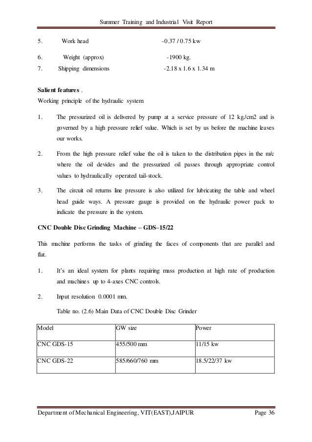 Summer Training and Industrial Visit Report Department of Mechanical Engineering, VIT(EAST),JAIPUR Page 36 5. Work head -0...