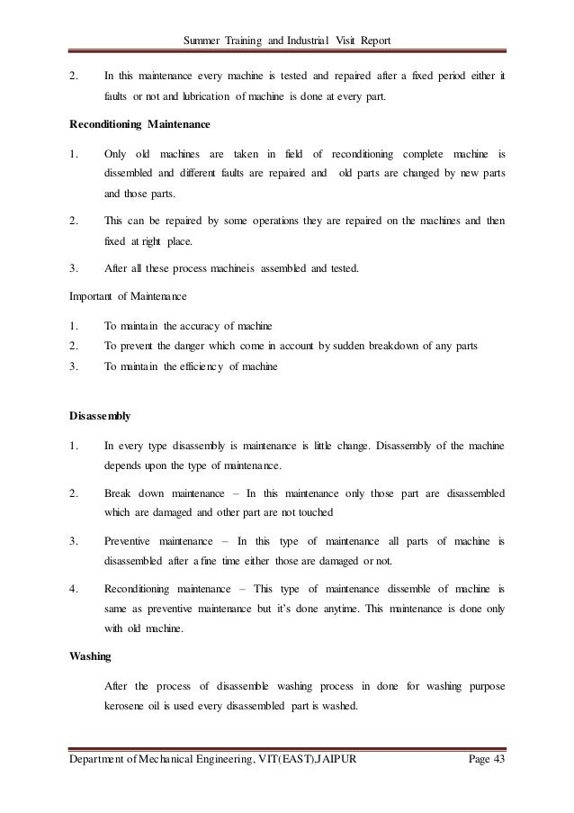 Summer Training and Industrial Visit Report Department of Mechanical Engineering, VIT(EAST),JAIPUR Page 43 2. In this main...