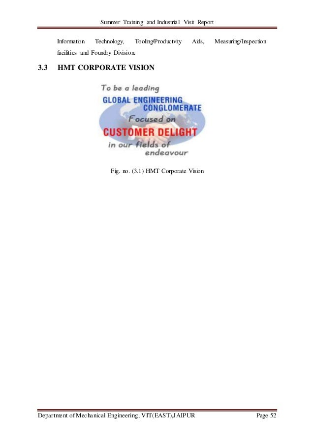Summer Training and Industrial Visit Report Department of Mechanical Engineering, VIT(EAST),JAIPUR Page 52 Information Tec...