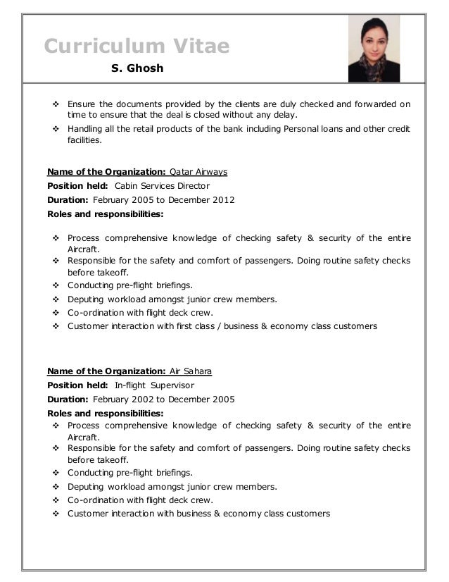 sample resume for qatar airways choice image
