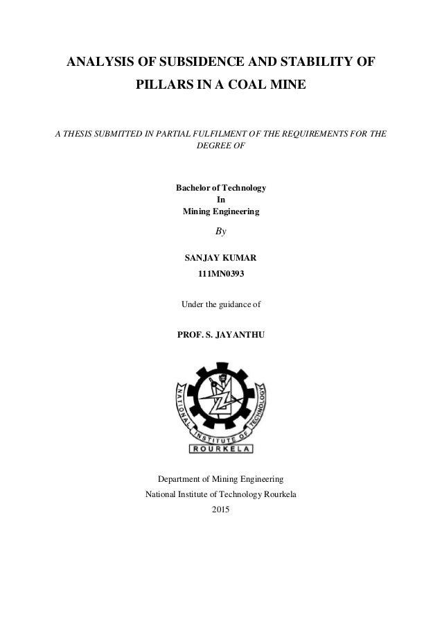 nit rourkela mining thesis