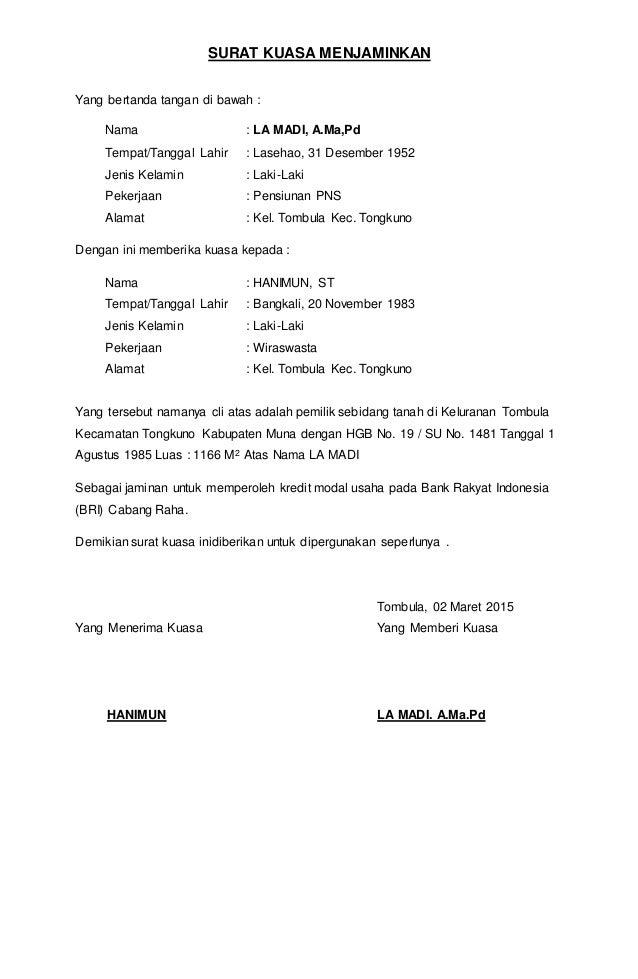 Contoh Surat Kuasa Tanah Untuk Pinjaman Bank - Contoh ...