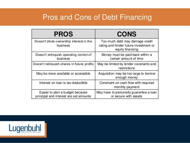 debt vs equity financing pros and cons pdf