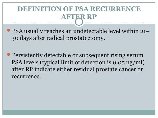 psa recurrence after prostatectomy