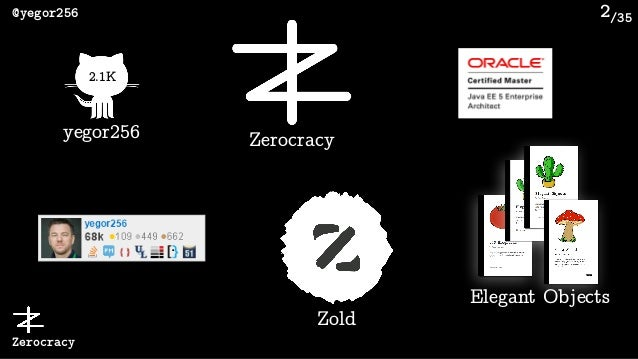 /35@yegor256 Zerocracy 2 2.1K yegor256 Zerocracy Zold Elegant Objects