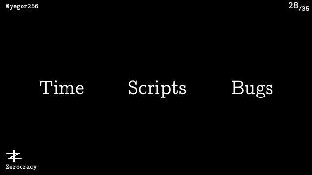 /35@yegor256 Zerocracy 28 Time Scripts Bugs