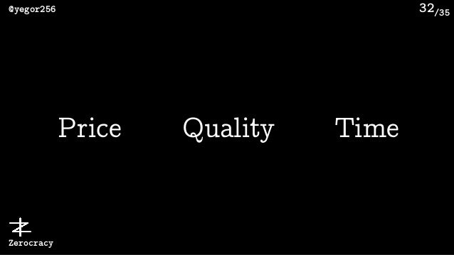 /35@yegor256 Zerocracy 32 Price Quality Time