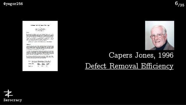 /35@yegor256 Zerocracy 6 Capers Jones, 1996 Defect Removal Efficiency