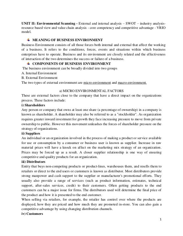 1 UNIT II: Environmental Scanning - External and internal analysis – SWOT – industry analysis- resource based view and val...