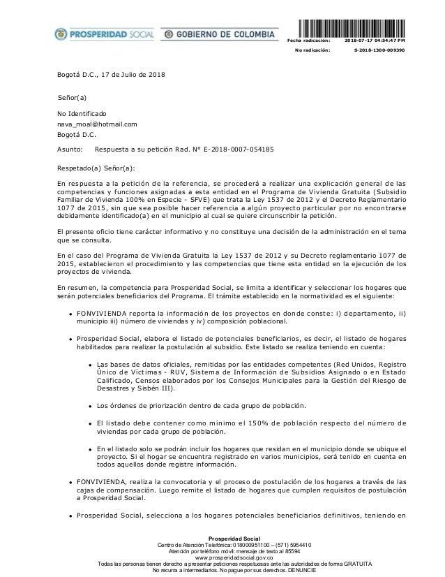 BogotáD.C.,17deJuliode2018 Señor(a) NoIdentificado nava_moal@hotmail.com BogotáD.C. Asunto: Respuestaasup...