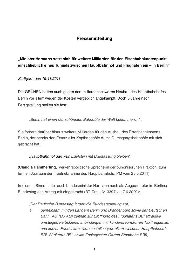 """Pressemitteilung""""Minister Hermann setzt sich für weitere Milliarden für den Eisenbahnknotenpunkteinschließlich eines Tunne..."""