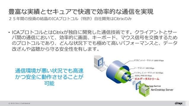 © 2015 Citrix   Confidential 豊富な実績とセキュアで快適で効率的な通信を実現 25年間の投資の結晶のICAプロトコル(特許)自社開発はCitrixのみ • ICAプロトコルとはCitrixが独自に開発した通信技術です...