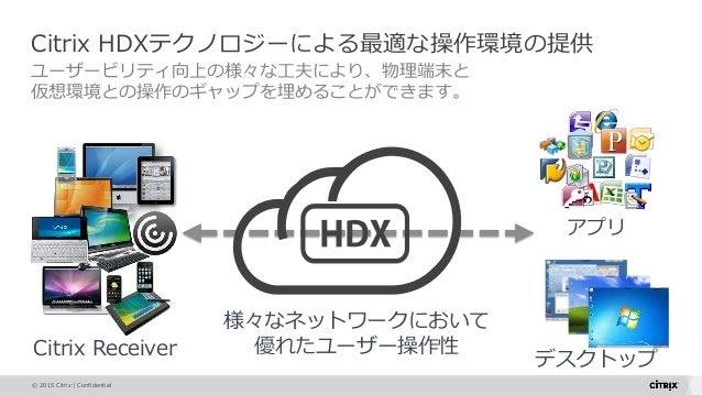 © 2015 Citrix   Confidential Citrix HDXテクノロジーによる最適な操作環境の提供 ユーザービリティ向上の様々な工夫により、物理端末と 仮想環境との操作のギャップを埋めることができます。 アプリ デスクトップ ...