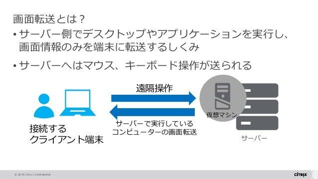 © 2015 Citrix   Confidential サーバー 画面転送とは? • サーバー側でデスクトップやアプリケーションを実行し、 画面情報のみを端末に転送するしくみ • サーバーへはマウス、キーボード操作が送られる 接続する クライ...